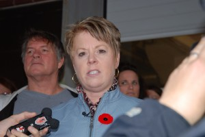 Norma Robinson during a press conference at the Moncton Hospital concerning the closure of the laundry services at the Moncton hospital and the Tracadie-Sheila Hospital.